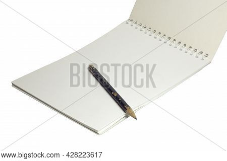 Blank Flip Notebook On Bind. Black Pencil On White Unlined Pages