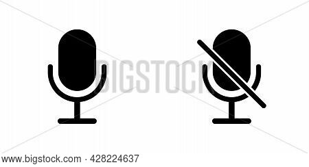 Microphone Icon. Web Icons Or Signs. Web And Mobile Icons. Recording, Song, Radio Sound Symbol. Ther