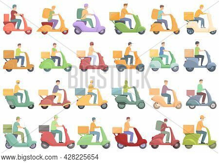 Courier On Scooter Icons Set Cartoon Vector. Restaurant Delivery. Lunch Box Courier