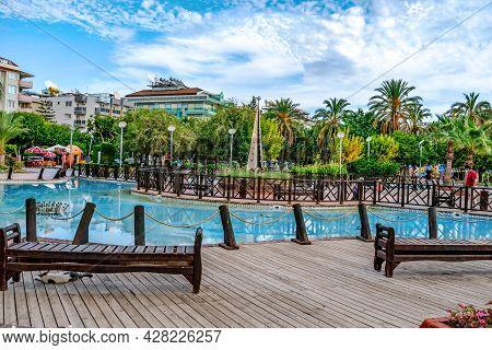 Alanya, Turkey - October 23, 2020: Beautiful Tropical Landscape Of Abdurrahman Alaettinogl Park In A