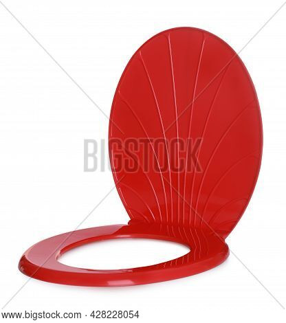 New Red Plastic Toilet Seat Isolated On White