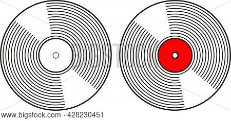 Simple Outline Drawn Classic Vinyl Music Retro Record Plate Isolated On White Background