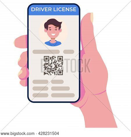 Driving License On The Cell Phone Screen. Mobile App For Personal Identification. Vector Illustratio