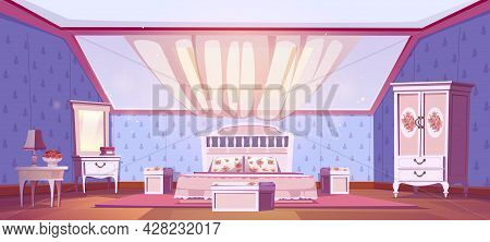 Bedroom Interior In Shabby Chic Style On Attic. Vector Cartoon Mansard Sleeping Room With Bed, Windo