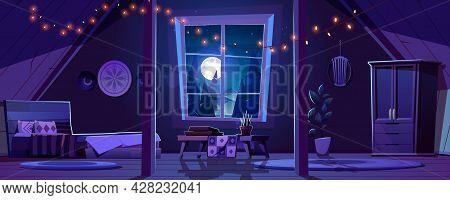 Bedroom Interior In Boho Style On Attic At Night. Vector Cartoon Mansard Sleeping Room With Wooden F