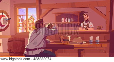 Man In Wild West Beer Pub, Retro Cowboy Saloon Or Tavern. Visitor In Antique Bar With Barista Clean