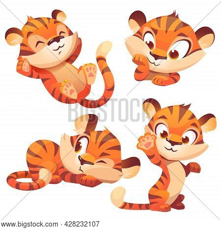 Cute Tiger Cub Cartoon Character, Funny Animal Mascot Sleep On Back, Waving Paw, Peep And Thinking.