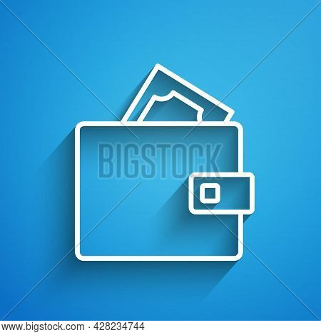 White Line Wallet With Stacks Paper Money Cash Icon Isolated On Blue Background. Purse Icon. Cash Sa