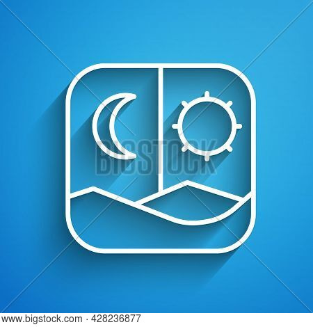 White Line Ramadan Fasting Icon Isolated On Blue Background. Fast Day And Night. Religious Fasting.