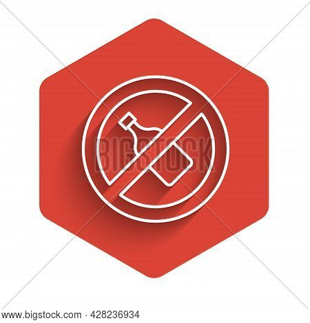 White Line No Alcohol Icon Isolated With Long Shadow Background. Prohibiting Alcohol Beverages. Forb