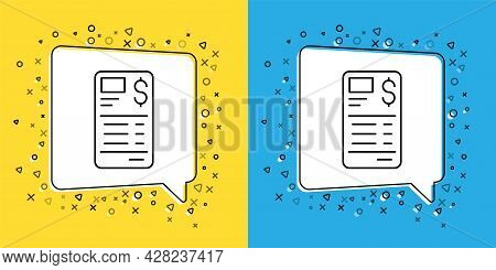 Set Line Paper Or Financial Check Icon Isolated On Yellow And Blue Background. Paper Print Check, Sh