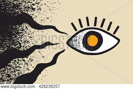 Black Fungus - Rare Diesease That Affects The Human Eyes In Covid-19 Patients. Vector Illustration