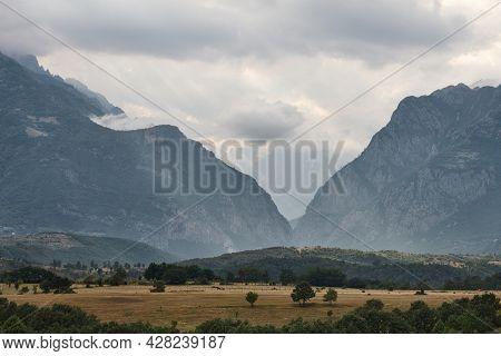 Albanian Landscape Of Valbone Valley Gates At Sunset