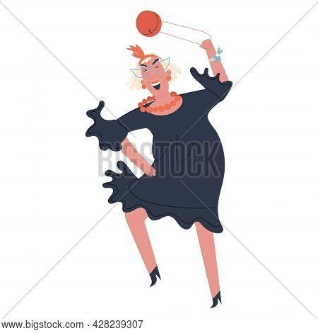 Jolly Old Woman In A Dress Dancing Waving Her Purse. Flat Vector Illustration On White Background. V
