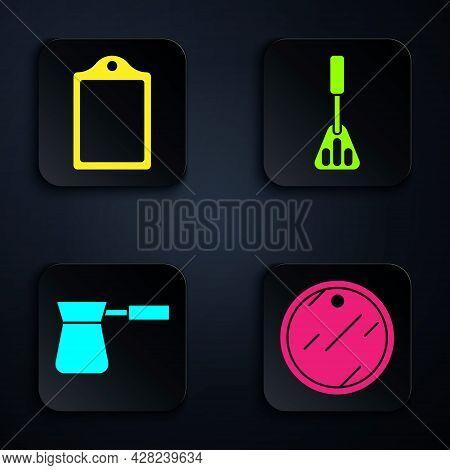Set Cutting Board, Cutting Board, Coffee Turk And Spatula. Black Square Button. Vector