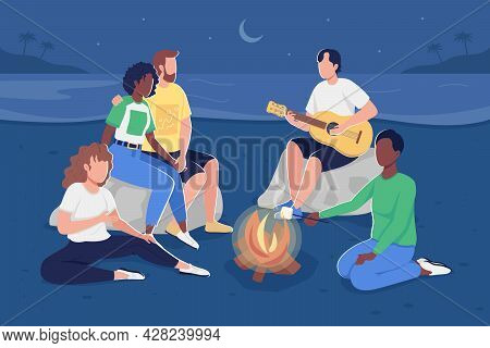Gathering Together Around Campfire Flat Color Vector Illustration. Beach Trip. Roasting Marshmallows