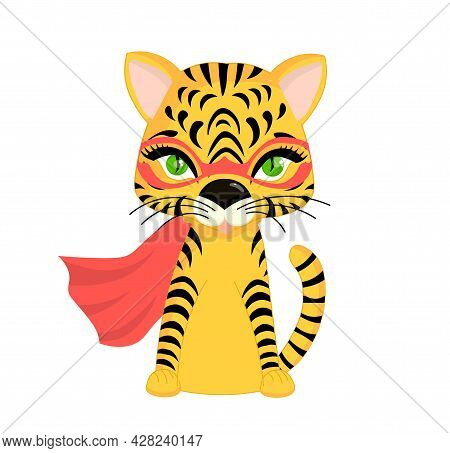 Tiger Cub On A White Background. Tiger Character Cute Isolated. Symbol Of The Year 2022.vector Illus