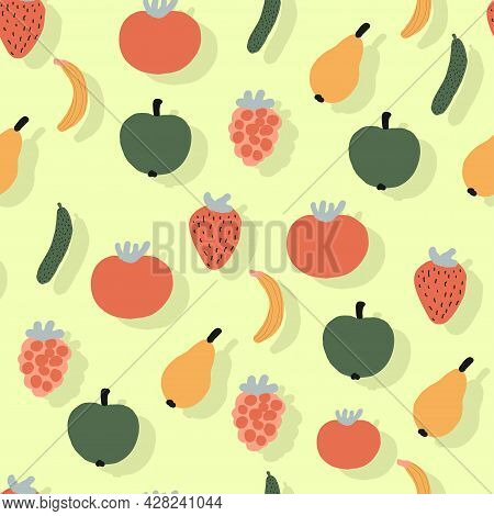 Print For Kitchen Textiles And Towels. Vegetables Pattern Seamless. Cozy Home Textiles. Tomatoes And