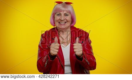 Senior Old Granny Woman Wish For Good Luck, Becoming Surprised About Sudden Dream Come True, Waiting