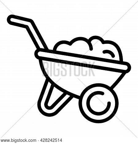 Gardening Ground Wheelbarrow Icon. Outline Gardening Ground Wheelbarrow Vector Icon For Web Design I