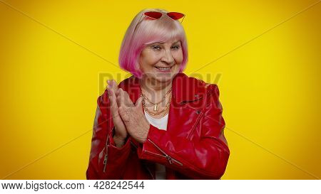 Sneaky Cunning Mature Granny Woman With Tricky Face Gesticulating And Scheming Evil Plan, Thinking O
