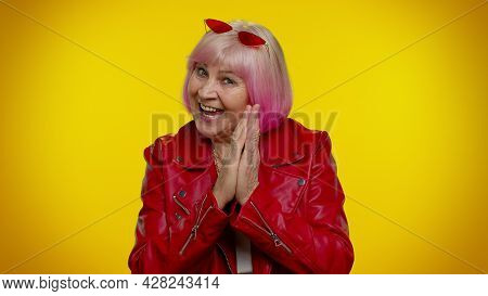 Villain Idea. Cunning Sneaky Rocker Mature Granny Woman With Tricky Face Conspiring Scheming, Thinki