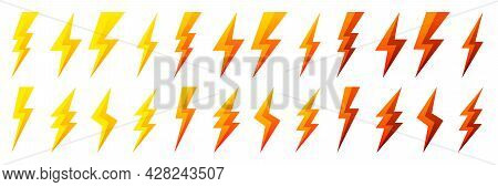 Yellow And Red Lightning Bolt Icons Isolated On White Background. Flash Symbol, Thunderbolt. Simple