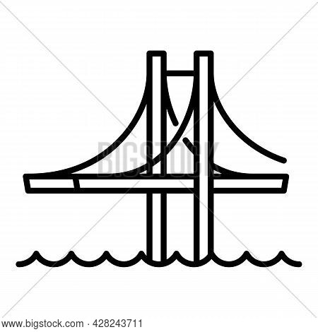 Architecture Bridge Icon. Outline Architecture Bridge Vector Icon For Web Design Isolated On White B