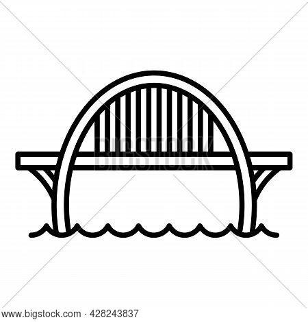 Construction Bridge Icon. Outline Construction Bridge Vector Icon For Web Design Isolated On White B