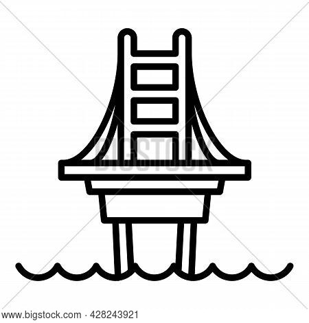 Modern Bridge Icon. Outline Modern Bridge Vector Icon For Web Design Isolated On White Background