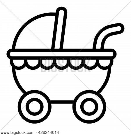 Baby Pram Icon. Outline Baby Pram Vector Icon For Web Design Isolated On White Background