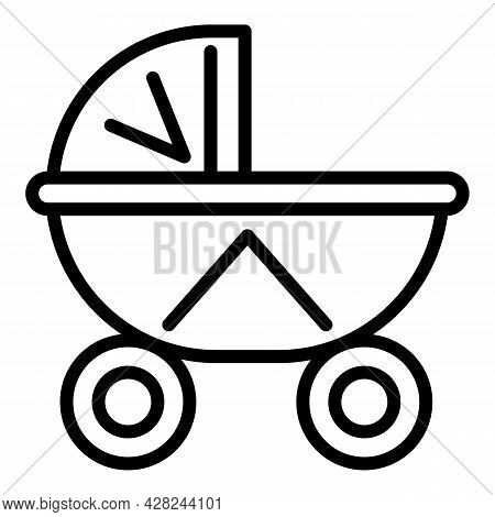 Baby Textile Pram Icon. Outline Baby Textile Pram Vector Icon For Web Design Isolated On White Backg