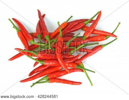 Top View Of Chili,pepper Isolated On White Background
