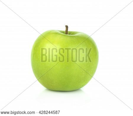 Closeup Of Green Apple Isolated On White Background