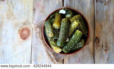 Pickled Cucumbers. Healthy Food Probiotics. Probiotics. Salted Cucumbers In A Bowl.