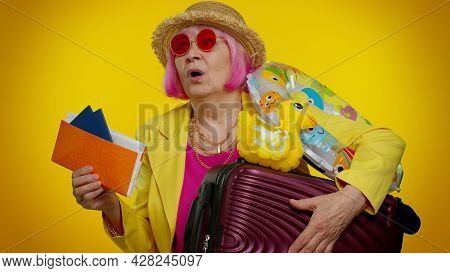 Displeased Tired Boring Traveler Tourist Senior Granny Woman In Summer Clothes On Yellow Background.