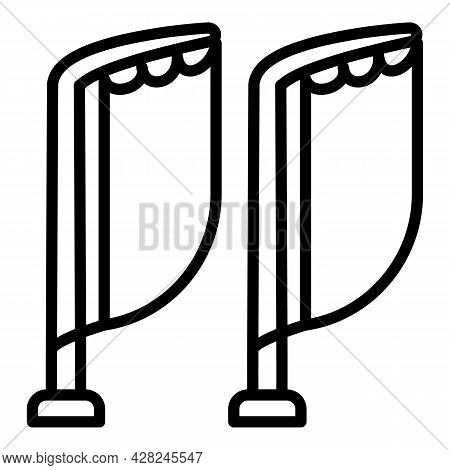 Outdoor Advertising Flags Icon. Outline Outdoor Advertising Flags Vector Icon For Web Design Isolate