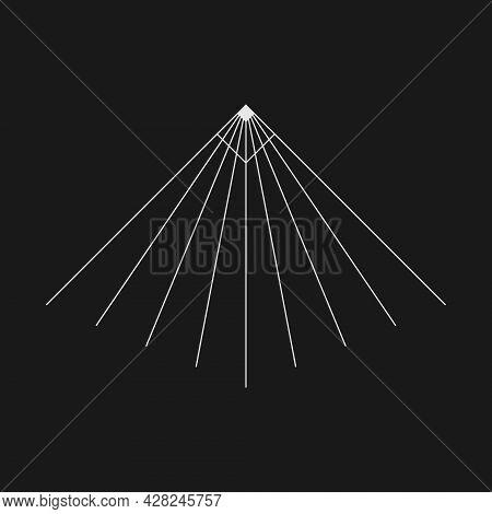Retrofuturistic Perspective Tunnel. Cyber Retro Design Element. Wireframe Tunnel In Cyberpunk 80s St