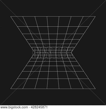 Retrofuturistic Perspective Grid Extending Into The Horizon. Cyber Retro Design Element. Grid In Cyb