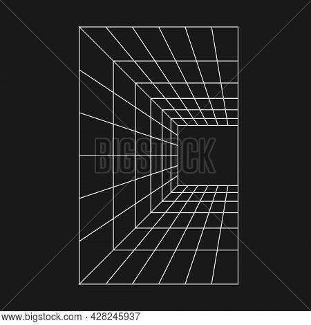 Retrofuturistic Perspective Grid Tunnel. Cyber Retro Design Element. Wireframe Tunnel In Cyberpunk 8