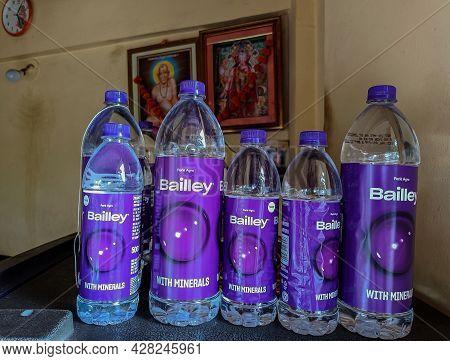 Kolhapur, Maharashtra, India- July 16th 2021; Stock Photo Mineral Water Bottle Kept Above The Refrig