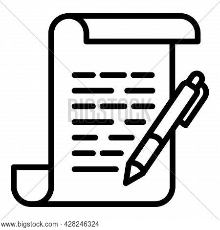 Courthouse Document Icon. Outline Courthouse Document Vector Icon For Web Design Isolated On White B