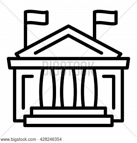 Courthouse Icon. Outline Courthouse Vector Icon For Web Design Isolated On White Background