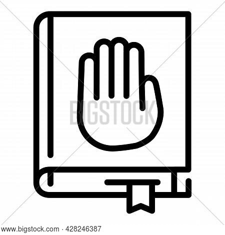 Courthouse Book Icon. Outline Courthouse Book Vector Icon For Web Design Isolated On White Backgroun