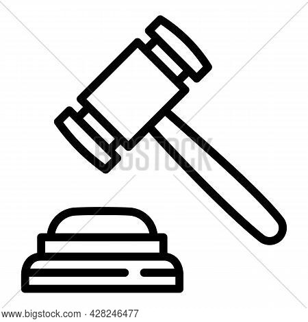 Courthouse Judge Gavel Icon. Outline Courthouse Judge Gavel Vector Icon For Web Design Isolated On W
