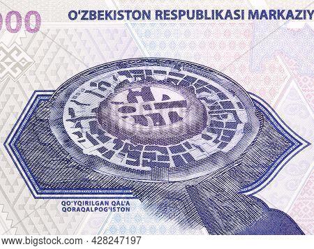 Archeological Monument Of Jonbox-qal From Uzbekistani Money