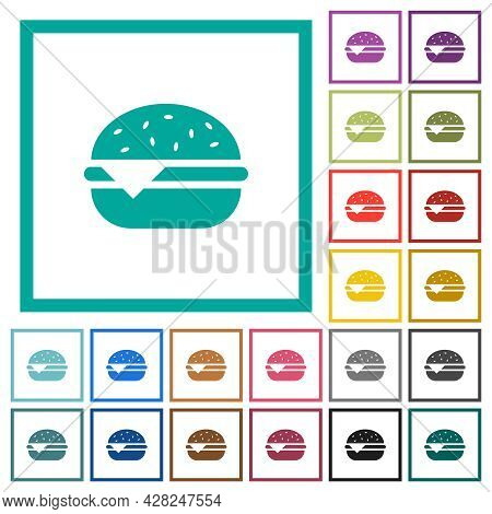 Single Cheeseburger Flat Color Icons With Quadrant Frames On White Background
