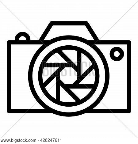 Professional Camera Icon. Outline Professional Camera Vector Icon For Web Design Isolated On White B