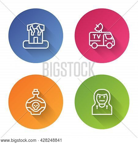 Set Line Arson Home, Tv News Car, Poison In Bottle And Thief Mask. Color Circle Button. Vector