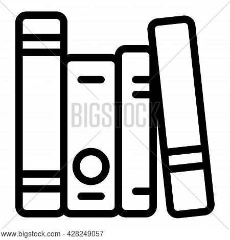 Interactive Learning Book Stack Icon. Outline Interactive Learning Book Stack Vector Icon For Web De